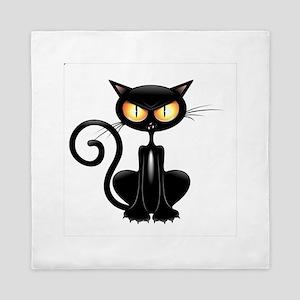 Amusing black cat Queen Duvet