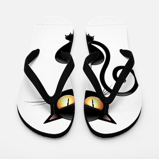 Amusing black cat Flip Flops