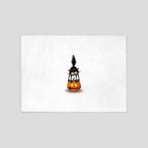 Halloween spooky pumpkins cat 5'x7'Area Rug
