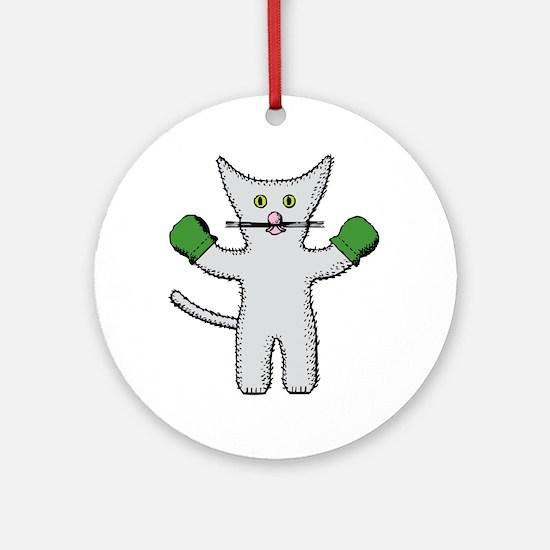 Kitten with mittens clip art Round Ornament