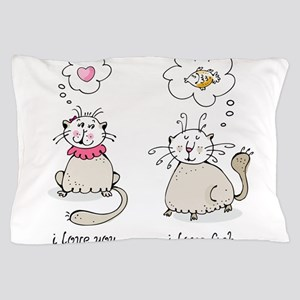 Love you, love face funny cat graphic Pillow Case