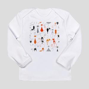 Cartoon cat seamless pattern g Long Sleeve T-Shirt