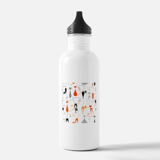 Cartoon cat seamless p Water Bottle