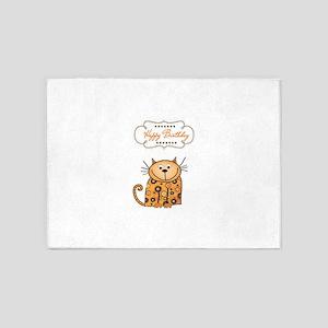 Happy birthday cartoon cat cards 5'x7'Area Rug