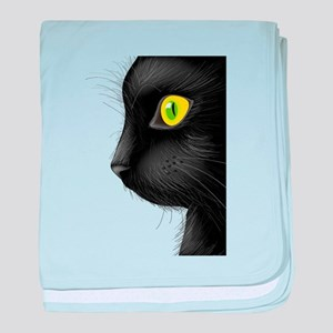 Black cat face with bright eye baby blanket