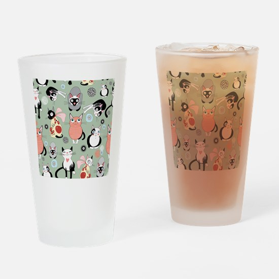 Funny cartoon cat design pattern Drinking Glass