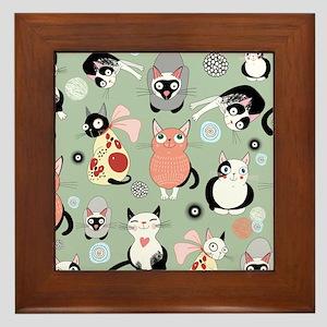 Funny cartoon cat design pattern Framed Tile