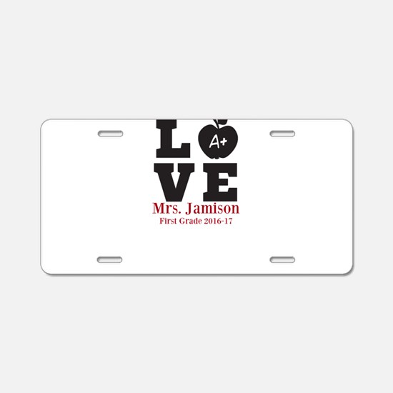 Love for My Teacher Personalized Aluminum License