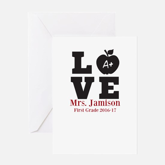 Love for My Teacher Personalized Greeting Cards