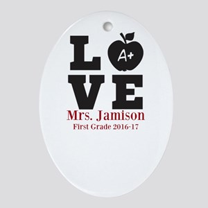Love for My Teacher Personalized Oval Ornament