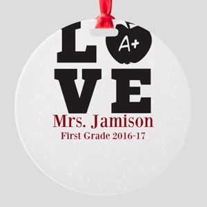 Love for My Teacher Personalized Ornament