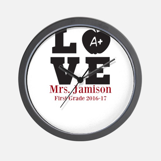 Love for My Teacher Personalized Wall Clock