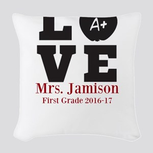 Love for My Teacher Personalized Woven Throw Pillo