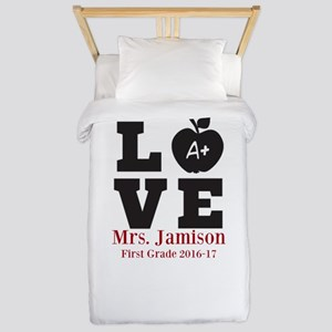 Love for My Teacher Personalized Twin Duvet