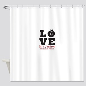 Love for My Teacher Personalized Shower Curtain