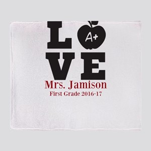 Love for My Teacher Personalized Throw Blanket