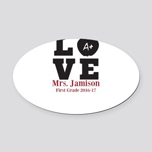 Love for My Teacher Personalized Oval Car Magnet
