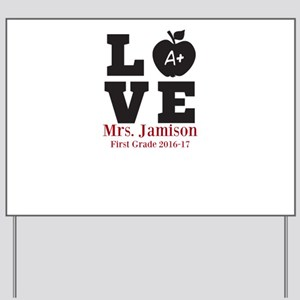 Love for My Teacher Personalized Yard Sign