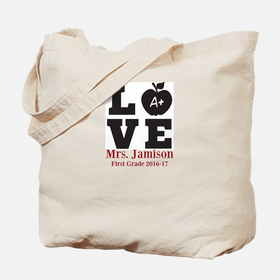 Love for My Teacher Personalized Tote Bag