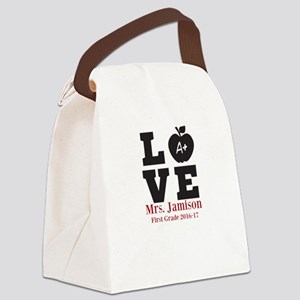 Love for My Teacher Personalized Canvas Lunch Bag