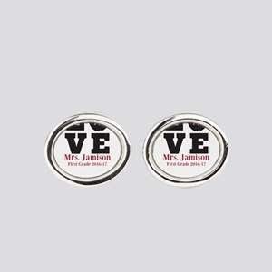 Love for My Teacher Personalized Oval Cufflinks