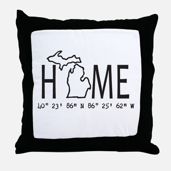 Michigan is My Home Coordinates Personalized Throw