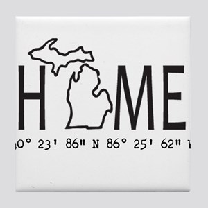 Michigan is My Home Coordinates Personalized Tile