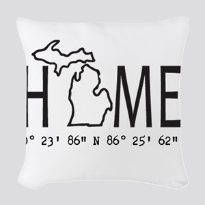 Michigan is My Home Coordinates Personalized Woven