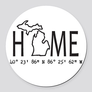 Michigan is My Home Coordinates Personalized Round