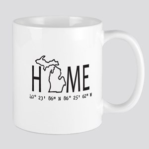 Michigan is My Home Coordinates Personalized Mugs