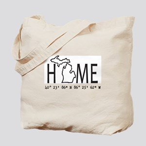 Michigan is My Home Coordinates Personalized Tote