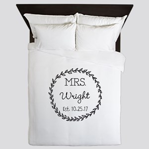 Mrs. Right Personalized Wedding Queen Duvet