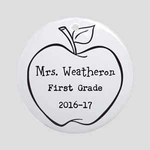 Personalized Teachers Apple Round Ornament