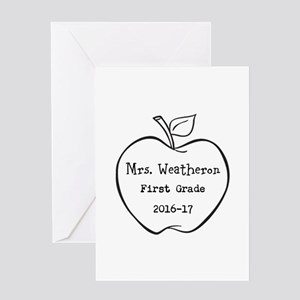 Personalized Teachers Apple Greeting Cards