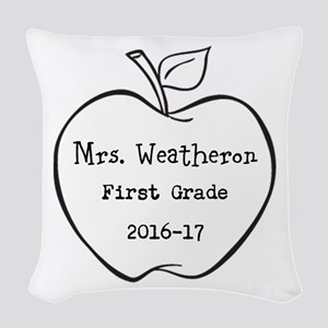 Personalized Teachers Apple Woven Throw Pillow