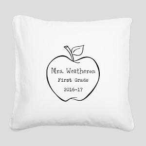 Personalized Teachers Apple Square Canvas Pillow