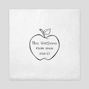 Personalized Teachers Apple Queen Duvet
