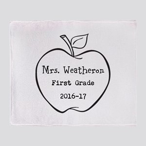 Personalized Teachers Apple Throw Blanket