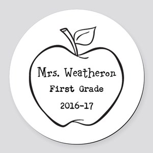 Personalized Teachers Apple Round Car Magnet