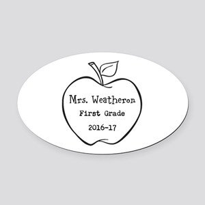 Personalized Teachers Apple Oval Car Magnet