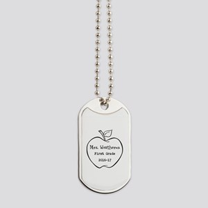 Personalized Teachers Apple Dog Tags