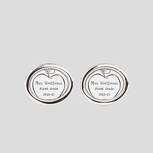 Personalized Teachers Apple Oval Cufflinks