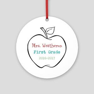 Colorized Custom Teachers Apple Round Ornament
