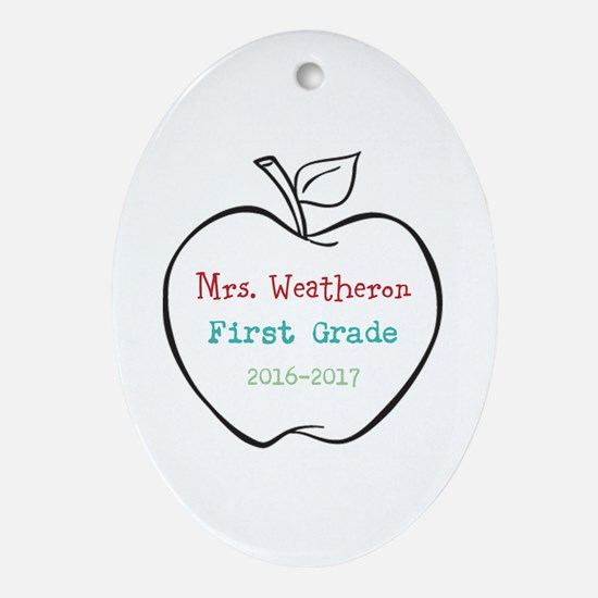 Colorized Custom Teachers Apple Oval Ornament