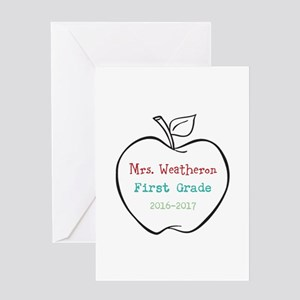 First day of school greeting cards cafepress colorized custom teachers apple greeting cards m4hsunfo