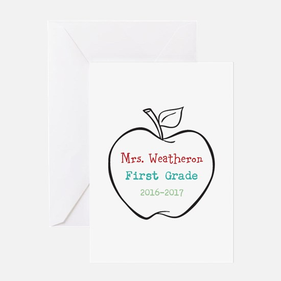 Colorized Custom Teachers Apple Greeting Cards