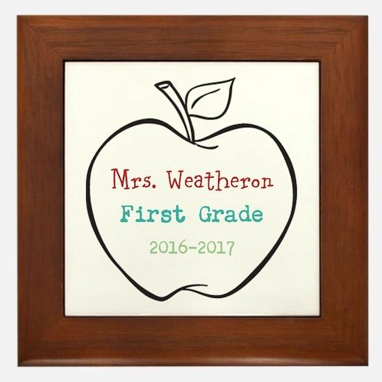 Colorized Custom Teachers Apple Framed Tile