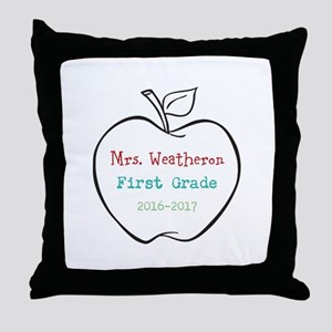 Colorized Custom Teachers Apple Throw Pillow