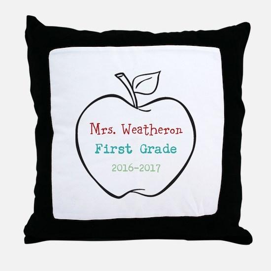 Colorized Custom Teachers Apple Throw Pillow