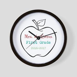 Colorized Custom Teachers Apple Wall Clock